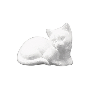Chat en polystyrene, dormant<br />14 cm