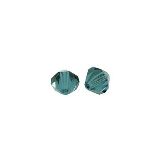 Perles cristal Swarovski toupie 4 mm ø. <br />turquoise d`Inde