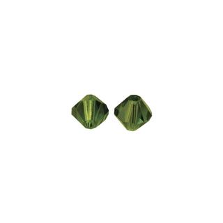 Perles cristal Swarovski toupie 4 mm ø. <br />olive