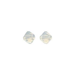 Perles cristal Swarovski toupie 4 mm ø. <br />blanc opal