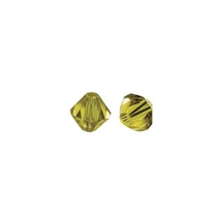 Perles cristal Swarovski toupie 6 mm ø. <br />jaune d`or