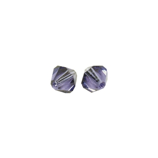 Perles cristal Swarovski toupie 6 mm ø. <br />bleu-violet