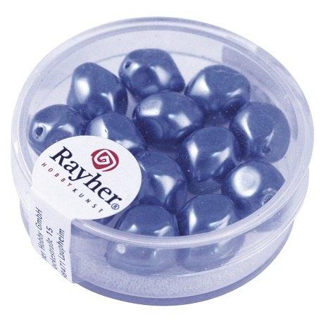 Perle Renaissance 9 mm ø. boîte 13 pces<br />bleu azur