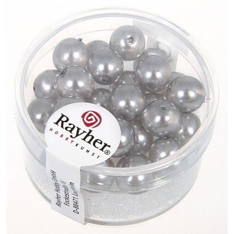 Perles en verre Renaissance 8 mm 8 mm. boîte 25 pces. mi-tra<br />gris argente