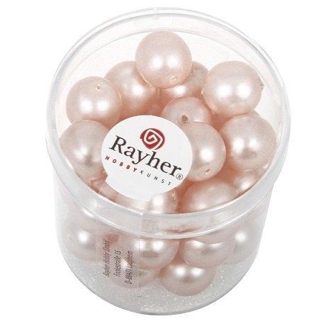 Perles en verre Renaissance. Opales 10 mm. boîte 35 pces<br />rose