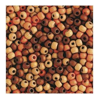 Perles en bois, mates, 4 mm<br />Teintes brunes