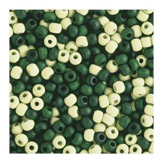 Perles en bois, mates, 6 mm<br />Teintes vertes
