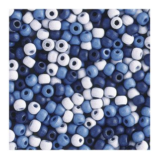 Perles en bois, mates, 6 mm<br />Teintes bleues