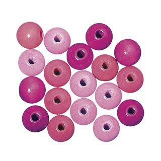 Perles en bois, polies, 16 mm ø<br />teinte rose fonce