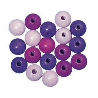 Perles en bois, polies, 16 mm ø<br />teinte lilas