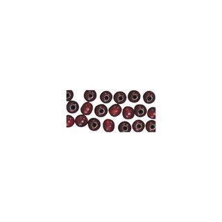 Perles en bois, polies, 6 mm ø, rondes<br />rouge brun