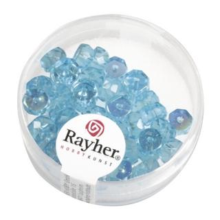Perle facettee en verre, Petite roue 6x3 mm irisee<br />turquoise