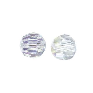 Perles rondes en verre facettees, 6 mm ø<br />cristal de roche