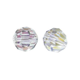 Perles rondes en verre facettees, 8 mm ø<br />cristal de roche