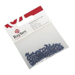 Olives en cire 6x3mm <br />bleu fonce,