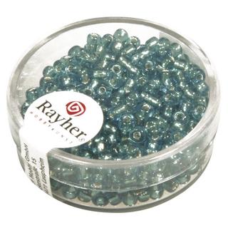 Rocailles,2,6 mm ø,av,garniture d'argent<br />turquoise