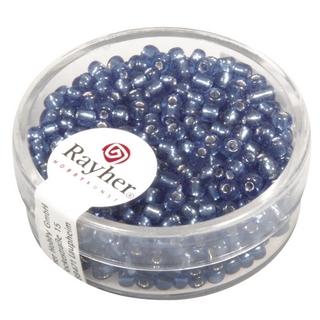 Rocailles,2,6 mm ø,av,garniture d'argent<br />bleu clair