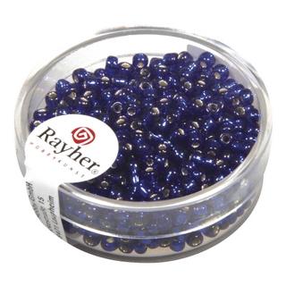 Rocailles,2,6 mm ø,av,garniture d'argent<br />bleu fonce