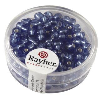 Rocailles avec garniture d'argent, 4 mm<br />bleu clair