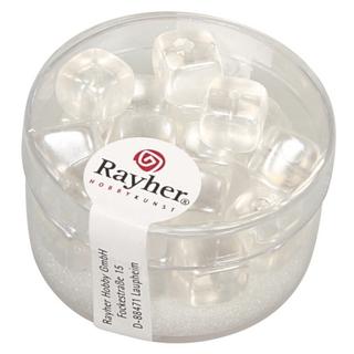 Perles en verre-Cube 8x9 mm<br />blanc neige