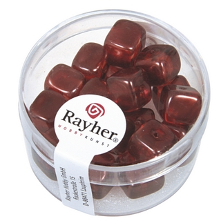 Perles en verre-Cube 8x9 mm<br />rouge Bourgogne