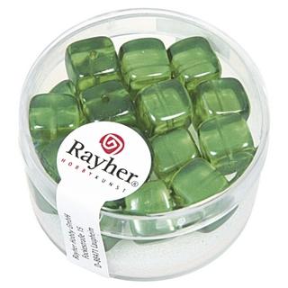 Perles en verre-Cube 8x9 mm<br />vert mai