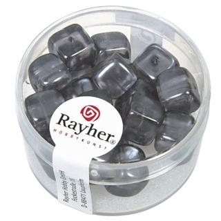 Perles en verre-Cube 8x9 mm<br />anthracite