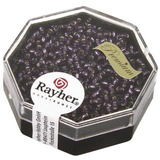 Premium-rocailles, 2,2 mm ø garniture d'argent<br />violet, boîte 12 g