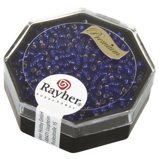 Premium-rocailles, 2,2 mm ø garniture d'argent<br />bleu royal, boîte 12 g