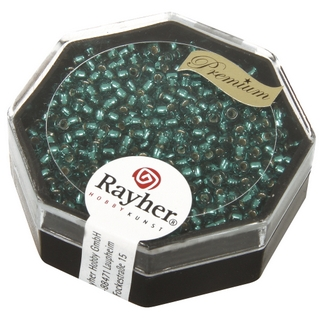 Premium-rocailles, 2,2 mm ø garniture d'argent<br />bleu lagon, boîte 12 g