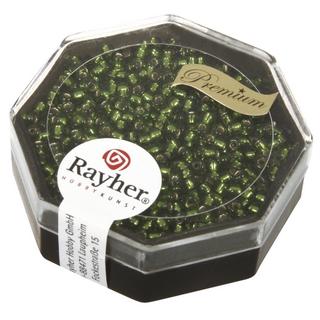 Premium-rocailles, 2,2 mm ø garniture d'argent<br />olive, boîte 12 g