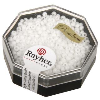 Premium-rocailles, 2,2 mm ø opaque<br />blanc, boîte 12 g