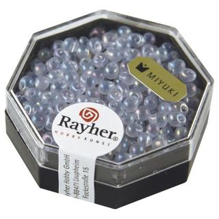 Miyuki-Perle-Drop, transparente, arc en ciel, 3,4 mm<br />lilas tendre