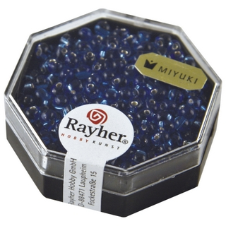 Miyuki-Perle-Drop, transp,, garn, argent &oslash; 3,4 mm<br />bleu royal