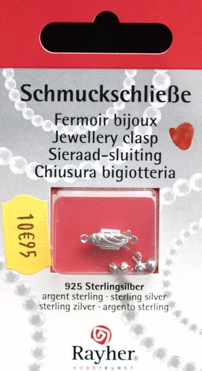 Fermoir bijou, 15 mm, 1rang, rhodiné,1 pce<br />argent Sterling 925