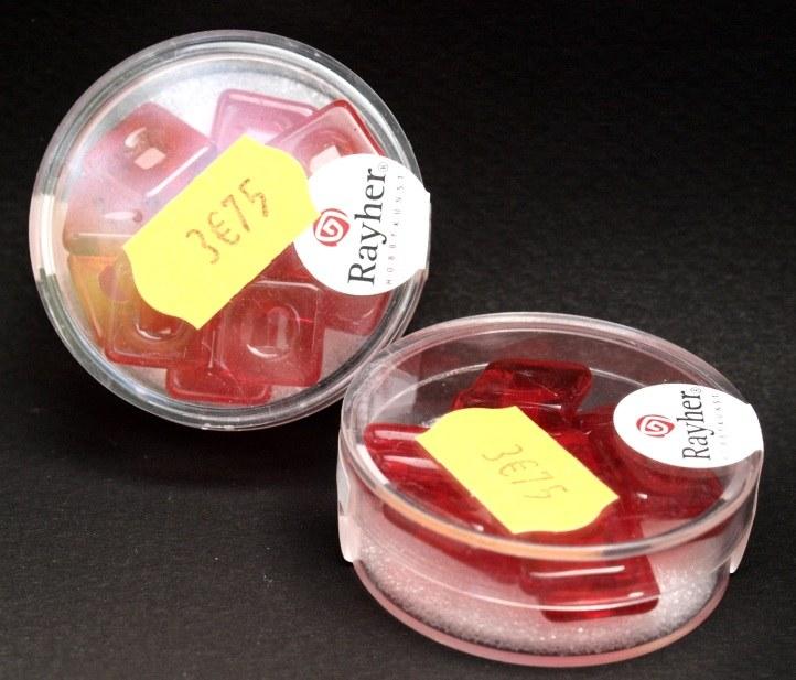 Carr&eacute; en verre 12x12 mm<br />rouge tuile