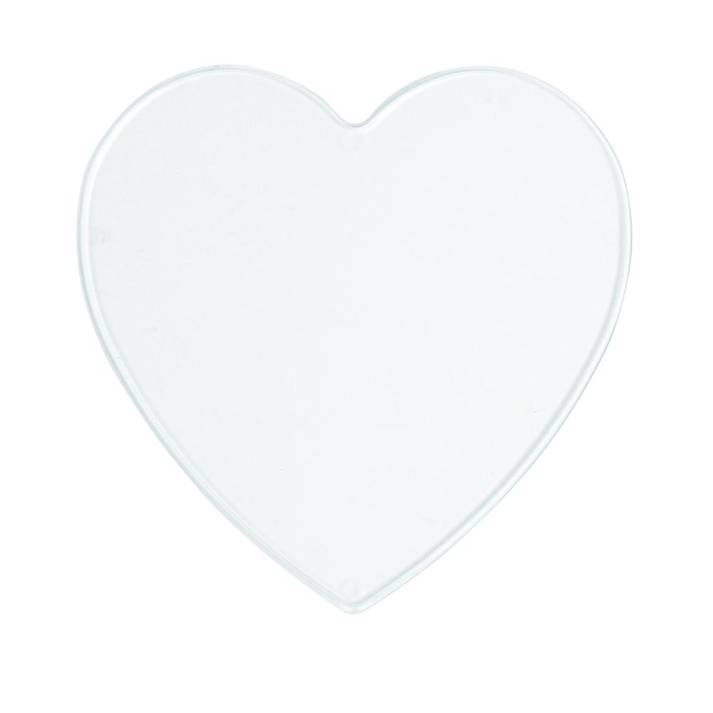 Disque en plastique a peindre, cristal<br />en vrac Coeur, 10 cm