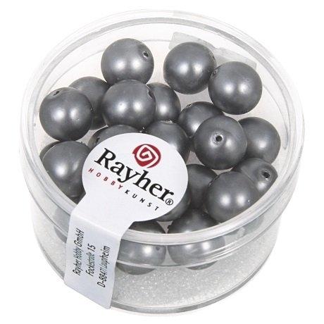 Perles en verre Renaissance. Opales 8 mm. boîte 25 pces gris acier