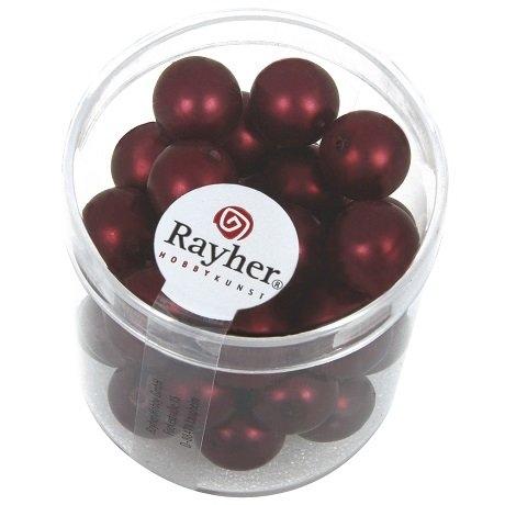 Perles en verre Renaissance. Opales 10 mm rouge vin