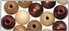 Lentille en bois, polie, 14 mm teinte brune