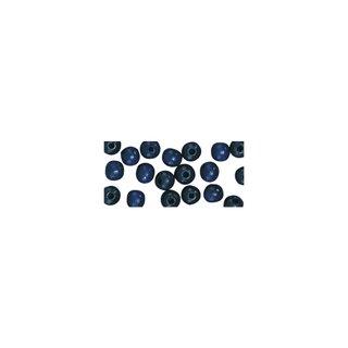 Perles en bois, polies, 14 mm ø, rondes bleu fonce