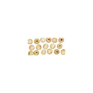 Perles en bois, polies, 14 mm ø, rondes nature