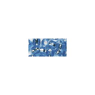 Rocailles. 2 mm ø. avec garniture argent bleu clair