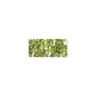 Rocailles. 2 mm ø. avec garniture argent vert clair