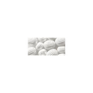 Perle a rainures, Olive, 8x10 mm blanc