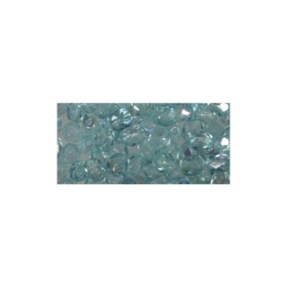 Perle facettee en verre, 4 mm ø irisée turquoise