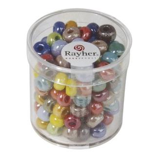 Perles a grand trou en verre, opaques ø 8,7 mm,  assorties