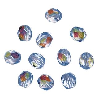 Perles transparentes en verre depolis 6 mm ø Irisees amethyste