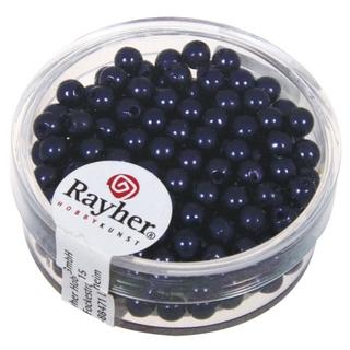 Perles de cire, 4 mm ø bleu fonce