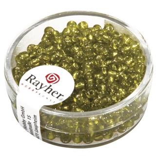 Rocailles,2,6 mm ø,av,garniture d'argent vert clair